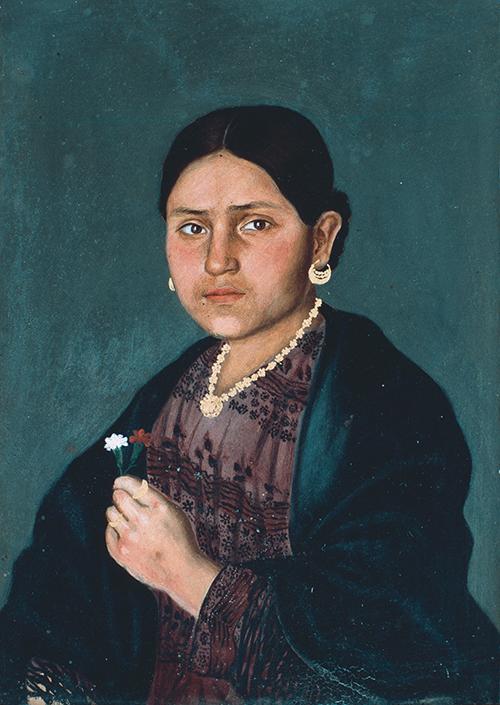 Imagen de Retrato de Mujer con Flores