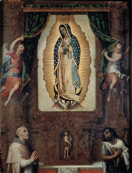 Imagen de Retablo de la Virgen de Guadalupe, Fray Juan de Zumárraga y Juan Diego