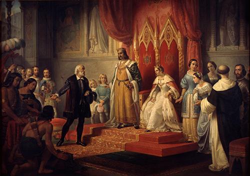 Imagen de Cristóbal Colón en la Corte de los Reyes Católicos