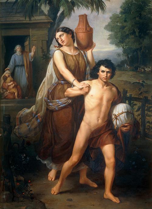 Imagen de Agar e Ismael, despedidos de la casa de Abraham, se dirigen al desierto