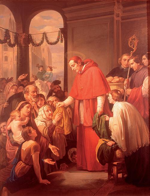 Imagen de San Carlos Borromeo Repartiendo Limosna al Pueblo