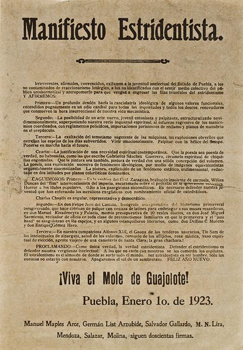 Imagen de Manifiesto estridentista ¡Viva El Mole de Guajolote! Puebla 1° de enero de 1923